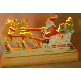 Wenko weihnachtsschlitten holz mit led schlitten weihnachten fensterd - Led fensterdeko weihnachten ...